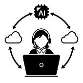 Cloud and AI Support Manager or Call center worker vector icon
