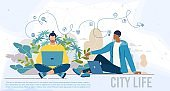 Modern People City Life Flat Vector Web Banner