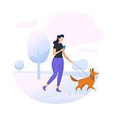 Young Woman Character Walking with Dog in Park
