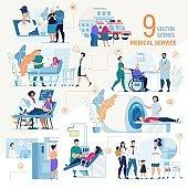 Clinic Medical Services Flat Vector Scenes Set