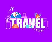 Summer Vacation Travel Flight Flat Vector Concept