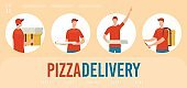 Pizza Delivery Flat Vector Web Banner Template