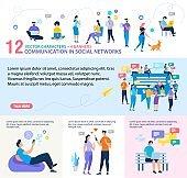Social Network Communication Vector Web Banner Set