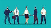 Lady Boss Surrounded Male Employees Flat Vector