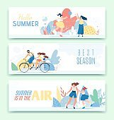 Text Header Banner Set and Happy Family Recreation