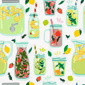 Lemonade jars, jugs and glasses seamless pattern