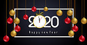 Happy New Year 2020. Lettering greeting inscription