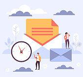 Online internet email envelope concept. Vector flat cartoon graphic design illustration