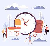 Time management concept. Vector flat cartoon graphic design illustration
