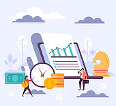 Financial investments concept. Vector flat cartoon graphic design illustration