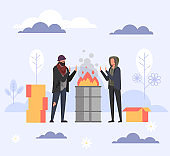Homeless people near fire trash can. Vector flat cartoon graphic design illustration