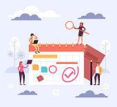 Planner schedule timetable reminder organizer concept. Vector flat cartoon graphic design illustration