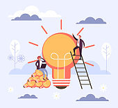Fresh idea start up concept. Vector flat cartoon graphic design illustration