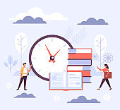 Time to study education concept. Vector flat cartoon graphic design illustration