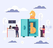 Banking office and safe money. Vector flat cartoon graphic design illustration