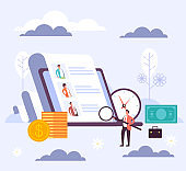 Recruitment head hunting human resources concept. Vector flat cartoon graphic design illustration