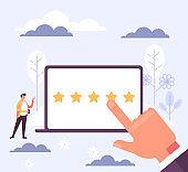 Rating feedback mobile app concept. Vector flat cartoon graphic design illustration