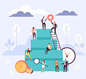 Career development office workers teamwork concept. Vector flat cartoon graphic design illustration