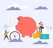 Banking piggy bank concept. Vector flat cartoon graphic design illustration