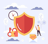 Personal data protection savings concept. Vector flat cartoon graphic design illustration