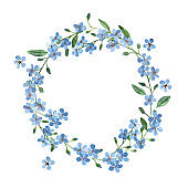 watercolor light blue wreath of forget-me-not with green leaves on white background for greetings card