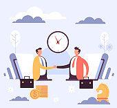 Online internet business deal concept. Vector flat cartoon graphic design illustration