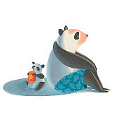 Big father panda sits on the beach and protects his little son from sunburn. Panda's Family rest near the sea