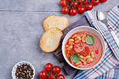 Thick tomato soup with beans