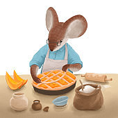 Color illustration about the Mouse like a human who makes a pumpkin pie. An Animal in apron cooks in the kitchen