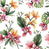 Seamless pattern of yellow, rose orchid flowers and tropical leaves on white background.