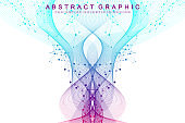 Scientific vector illustration genetic engineering and gene manipulation concept. DNA helix, DNA strand, molecule or atom, neurons. Abstract structure for Science or medical background. Wave flow
