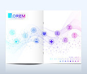Modern vector template for brochure, leaflet, flyer, cover, catalog in A4 size. DNA helix, DNA strand, molecule or atom, neurons. Abstract structure for Science or medical background