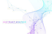 Geometric abstract background with connected lines and dots. Wave flow. Molecule and communication background. Graphic background for your design. Artificial Intelligence. Vector illustration.