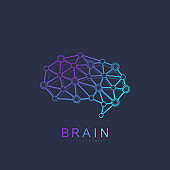 Brain Logo silhouette design vector template with connected lines and dots. Artificial Intelligence Logo. Brainstorm think idea Logotype symbol icon concept