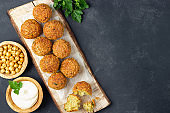 Falafel balls from spiced chickpeas