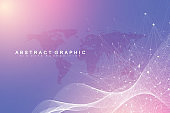Big data visualization. Geometric abstract background visual information complexity. Futuristic infographics design. Technology background with connected line and dots, wave flow. Vector illustration