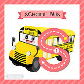 Letter S uppercase tracing. School Bus