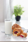 Glass of milk and two croissants