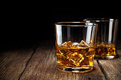 Two glass of whiskey with ice