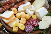 Cured meat and cheese platter