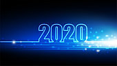 2020 Happy New year with abstract futuristic innovation of digital technology background, vector illustration