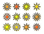 Sun icons with different rays. Summer symbols with gradient. Line flat sunlight signs. Vector illustration