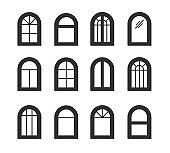 Arched & arch window. Casement & awning window frames. Flat icon set. Vector illustration. Isolated objects