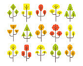 Simple geometric autumn tree symbols. Flat icon set of forest plants. Natural park & garden signs. Isolated object