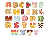 Set of tasty alphabet letters. Delicious, sweet, donuts, cookies, glazed, chocolate, yummy, tasty, shaped alphabet font typography