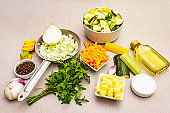 Fresh raw ingredients for zucchini puree soup