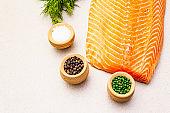 Gravlax, traditional scandinavian cooking salmon