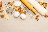 Raw ingredients for walnut pie