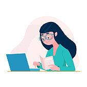 Woman in cartoon flat style sit at the table with document using computer, laptop. Freelancer woman concept. Female student studying