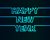 Happy New Year - greeting card, invitation, poster, flyer - cold continuous outline letters - vector